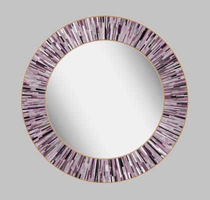 Roulette PIAGGI pink glass mosaic round mirror image 13