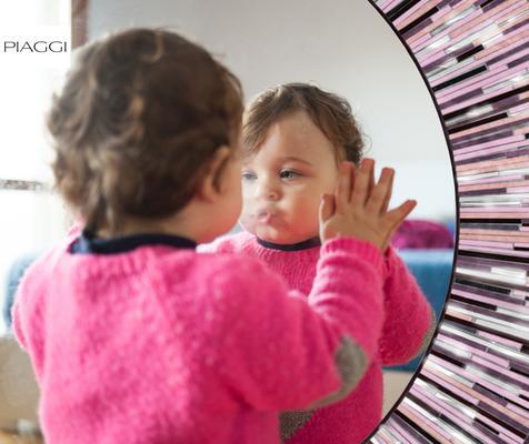 Roulette PIAGGI pink glass mosaic round mirror image 17