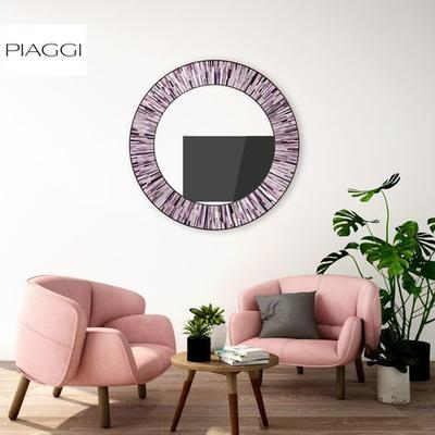 Roulette PIAGGI pink glass mosaic round mirror image 18