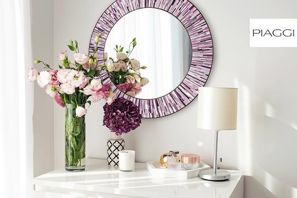 Roulette PIAGGI pink glass mosaic round mirror image 19