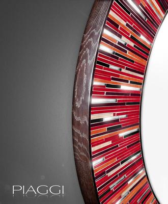 Roulette PIAGGI red glass mosaic round mirror image 3