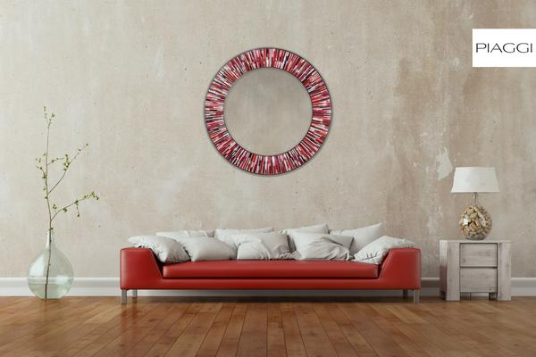 Roulette PIAGGI red glass mosaic round mirror image 7