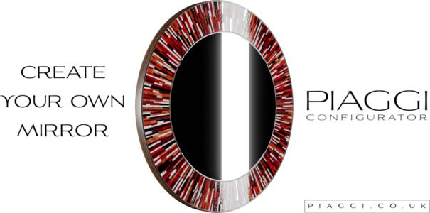 Roulette PIAGGI red glass mosaic round mirror image 10