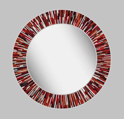 Roulette PIAGGI red glass mosaic round mirror image 11