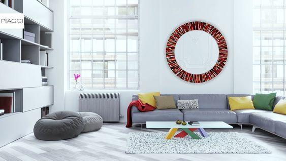 Roulette PIAGGI red glass mosaic round mirror image 13