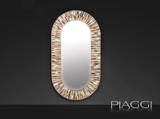 Stadium beige PIAGGI glass mosaic mirror image 2
