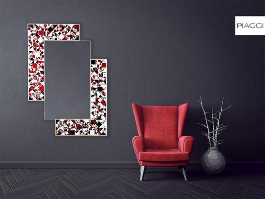Kaleidoscope PIAGGI maroon glass mosaic mirror image 8