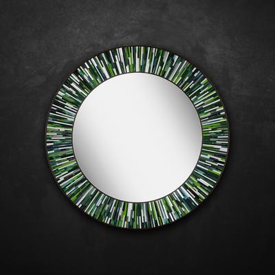 Roulette PIAGGI green glass mosaic round mirror