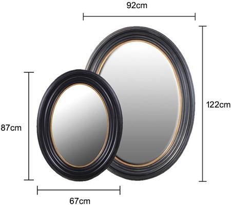 Oval Mirror - Black and Gold image 2