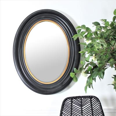 Oval Mirror - Black and Gold image 4