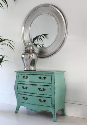 Shimmering Silver Round Mirror
