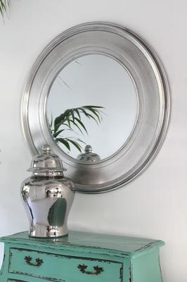 Shimmering Silver Round Mirror image 2