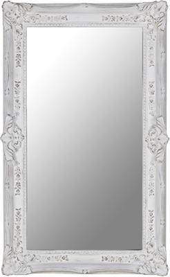 Rectangular White Ornate Mirror