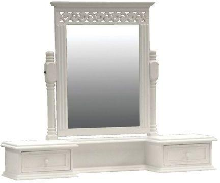 Traditional Dressing Table Mirror 3 drawers White Painted