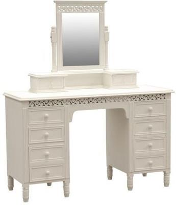 Traditional Dressing Table Mirror 3 drawers White Painted image 3