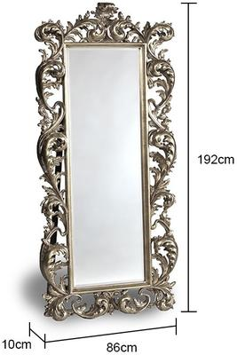Extra large silver cheval dressing mirror French vintage style image 2