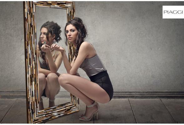 Big Q Dark Brown Glass Mosaic Modern Mirror image 24