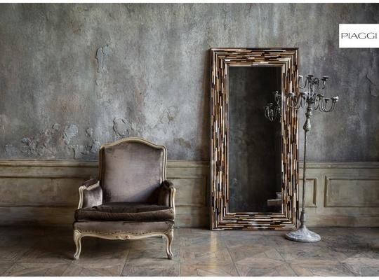 Big Q Light Brown Modern Glass Mosaic Mirror image 20