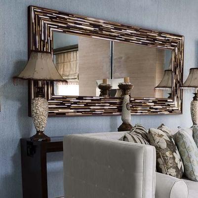Big Q Light Brown Modern Glass Mosaic Mirror image 21