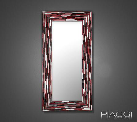 Big Q Red Modern Glass Mosaic Mirror