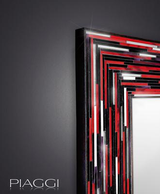 Big Q Red Modern Glass Mosaic Mirror image 3