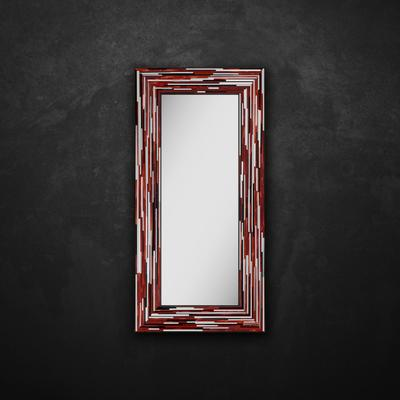 Big Q Red Modern Glass Mosaic Mirror image 14