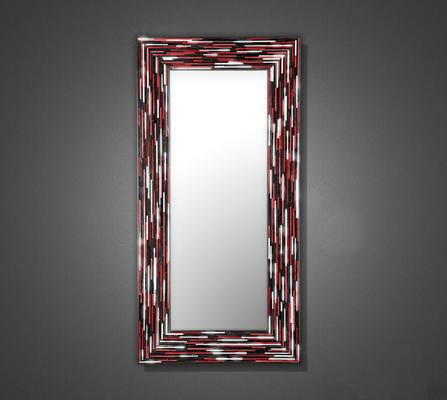 Big Q Red Modern Glass Mosaic Mirror