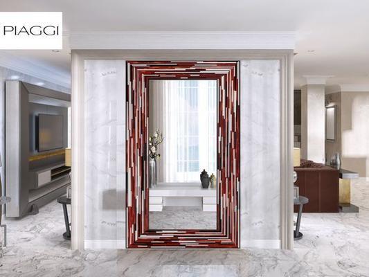 Big Q Red Modern Glass Mosaic Mirror image 15