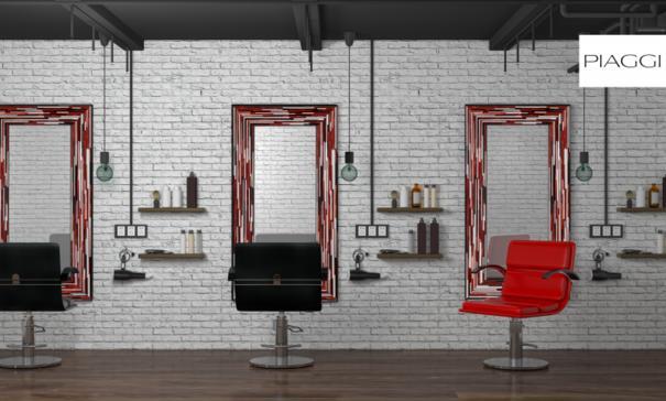Big Q Red Modern Glass Mosaic Mirror image 16