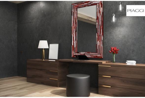 Big Q Red Modern Glass Mosaic Mirror image 17
