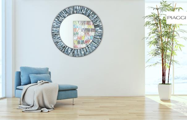 Roulette grey PIAGGI glass mosaic mirror image 7