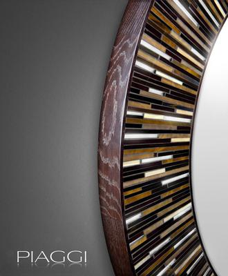 Roulette PIAGGI dark brown glass mosaic round mirror image 2