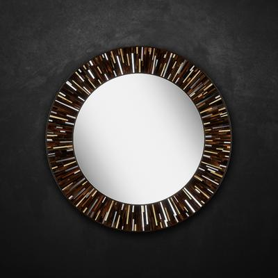 Roulette PIAGGI dark brown glass mosaic round mirror image 12