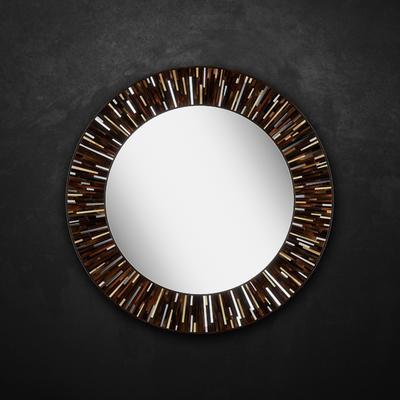Roulette PIAGGI dark brown glass mosaic round mirror image 7
