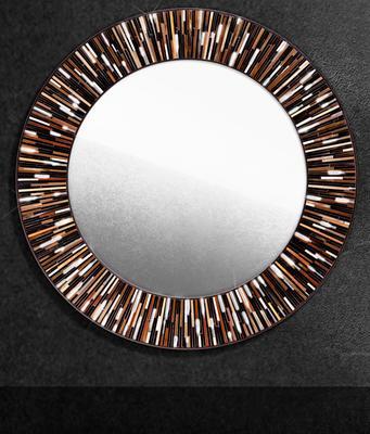 Roulette PIAGGI dark brown glass mosaic round mirror