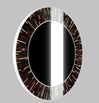 Roulette PIAGGI dark brown glass mosaic round mirror image 11