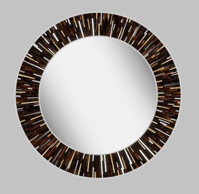 Roulette PIAGGI dark brown glass mosaic round mirror image 12