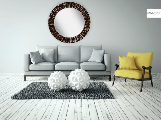 Roulette PIAGGI dark brown glass mosaic round mirror image 14