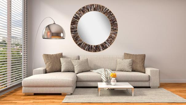Roulette PIAGGI dark brown glass mosaic round mirror image 16