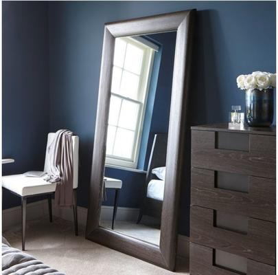 Fitzroy Wall Leaning Mirror Full Height in Charcoal Wenge Finish image 2
