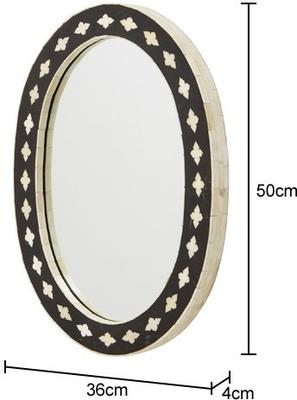 Inlaid Bone Oval Wall Mirror image 2