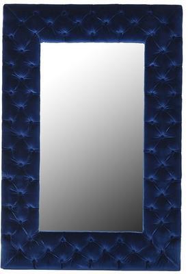 Blue Velvet Buttoned Wall Mirror