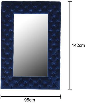 Blue Velvet Buttoned Wall Mirror image 2