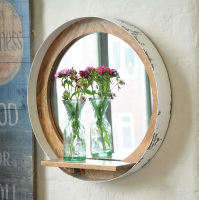 Industrial Vintage Porthole Wall Mirror With Shelf