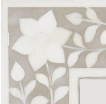 Petals Grey Bone Inlaid Rectangular Mirror image 2