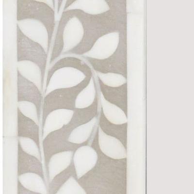 Petals Grey Bone Inlaid Rectangular Mirror image 3