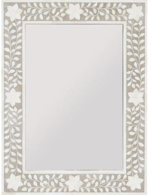 Petals Grey Bone Inlaid Rectangular Mirror