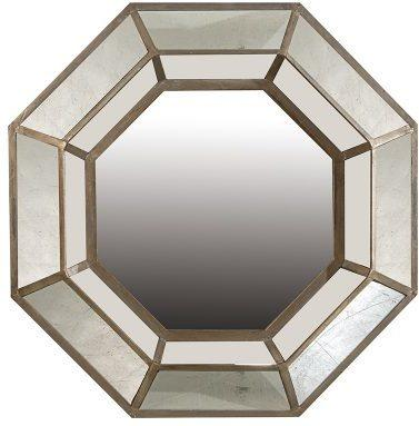 Antique Distressed Octagon Silver Mirror