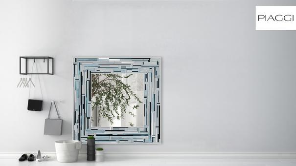 Barbarella Blue PIAGGI Modern Glass Mosaic Mirror image 2