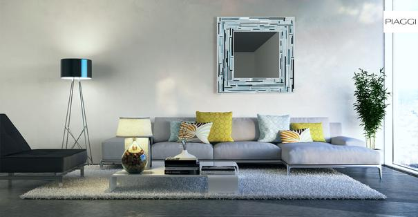 Barbarella Blue PIAGGI Modern Glass Mosaic Mirror image 3